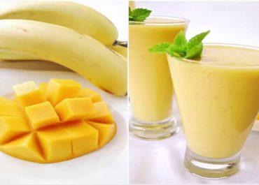 سموذي الموز والمانغو Mango banana smoothie